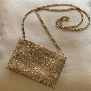 J. Crew glitter pouch with gold chain